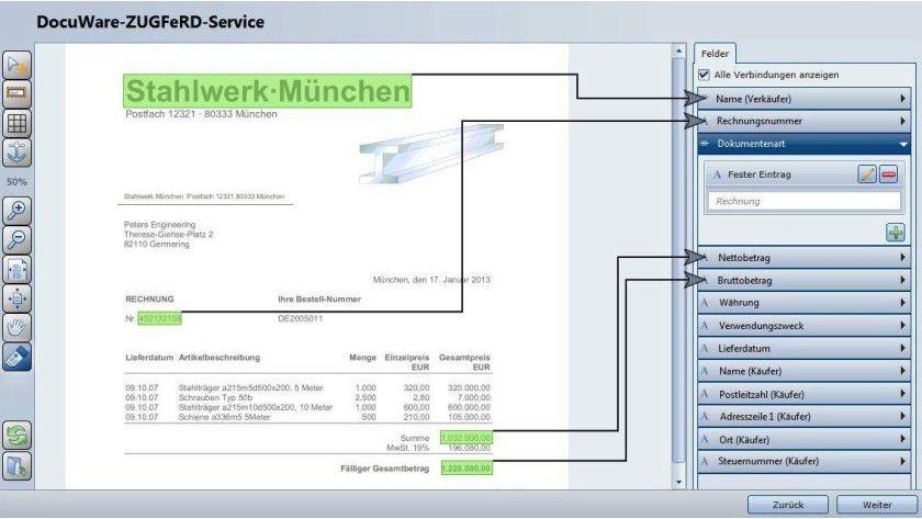 Docuware ermöglicht ZUGFeRD-konforme Rechnungen aus jeder Windows-Software heraus.