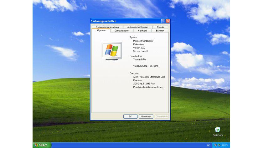 Windows XP 32-Bit mit Service Pack 3: Diese Betriebssystemversion wird noch bis zum 8.April 2014 mit sicherheitsrelevanten Updates versorgt werden.