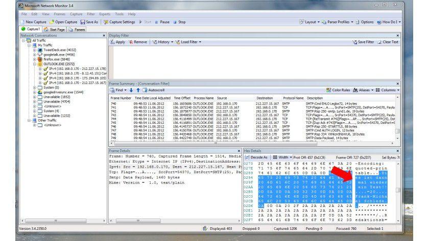 Wie ein offenes Buch oder eine Postkarte: Der Inhalt einer normalen E-Mail wird im Klartext über das Netz verschickt und kann mithilfe von Programmen, wie hier dem Microsoft Network Monitor, leicht mitgelesen werden.