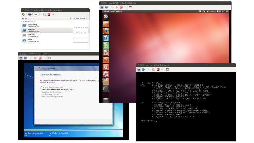 Virtual Machine Manager: Der Screenshot zeit drei gleichzeitig laufende virtuelle Maschinen mit KVM.