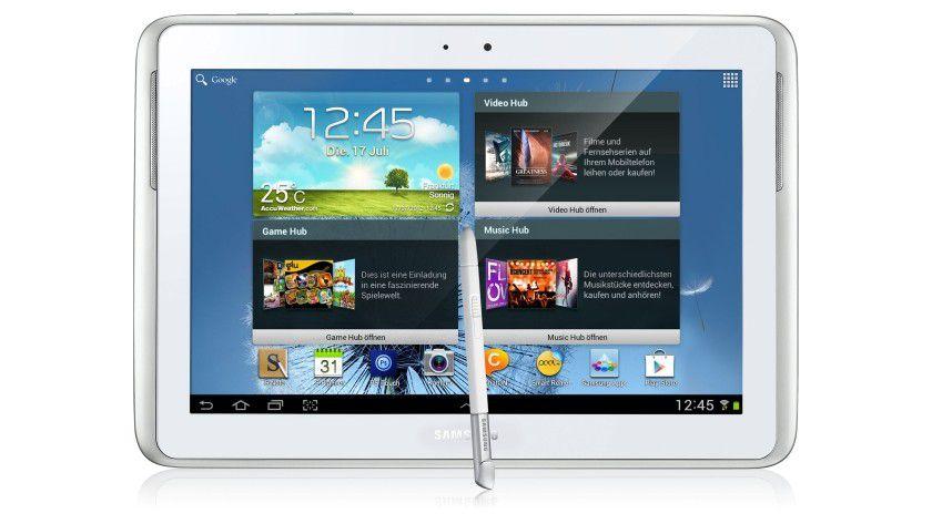 Mit Stift und Touchscreen: Das Galaxy Note 10.1 gibt es neben der weißen Ausführung auch in Grau.