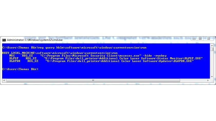"""Für den Profi: Jeder Registry-Eintrag kann auch direkt über die Eingabeaufforderung eingesehen oder manipuliert werden. Hier einer der wichtigsten Einträge: Mit """"run"""" unter """"hklm\software\microsoft\currentversion"""" werden Autostart-Einträge für den gesamten PC definiert."""