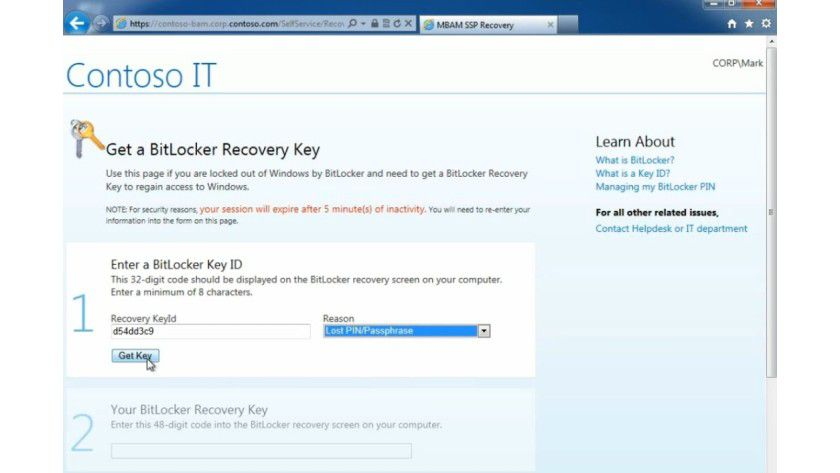 Mit dem neuen Self-Service-Portal bei MBAM 2.0 können Nutzer einen Ersatzschlüssel (Recovery Key) selbst generieren lassen.