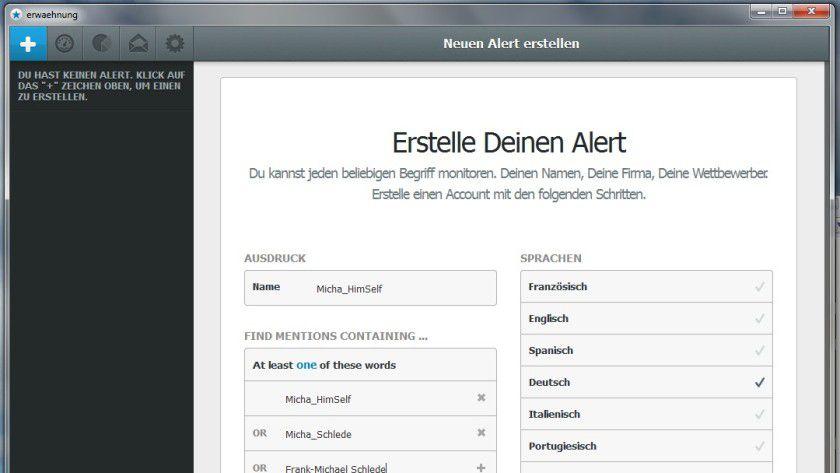 """Durchsucht das Web nach genau vorgegebenen Suchbegriffen und einigen Regeln: Der Anwender kann in der freien Version drei dieser """"Alarmmeldungen"""" definieren."""