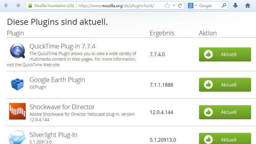 Unkompliziert: Schon ein einfacher Plug-In-Check im Firefox liefert Hinweise zum Sicherheitsstatus des Browsers.