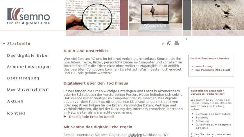 Service: Semno gibt Hinterbliebenen die Möglichkeit, den digitalen Nachlass Verstorbener prüfen zu lassen.