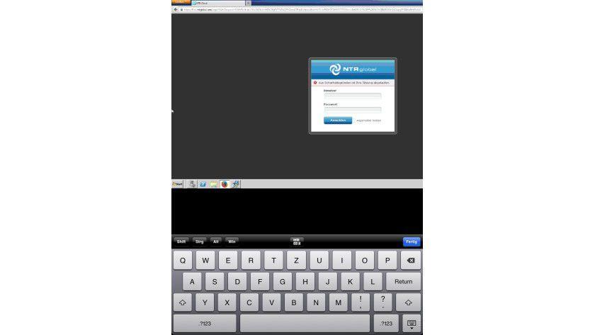 Größe maßgeblich: Auf einem Tablet macht ein Fernwartungszugriff, hier NTR von einem iPad, durchaus noch Spaß. Doch auf einem winzigen Smartphone ist die Darstellung einfach zu klein.