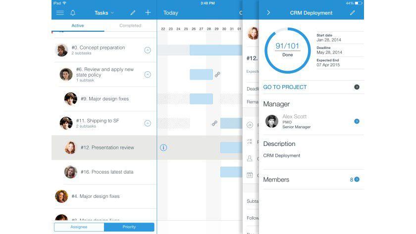 Mittels Gantt-Diagramm sind Zeitdauer für Aufgaben und Fristen der einzelnen Teammitglieder auf einen Blick ersichtlich. Dabei bietet das iPad einen deutlich besseren Überblick als die Smartphone-Versionen.