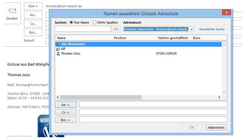 Grüppchenbildung: Beim Erstellen neuer E-Mails rufen Sie das globale Adressbuch auf und sehen an dieser Stelle die neue Verteilerliste.