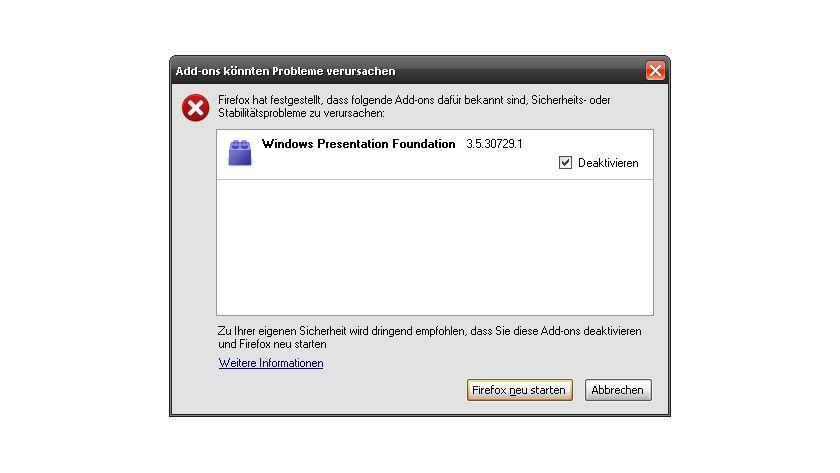 Firefox deaktiviert WPF-Plugin