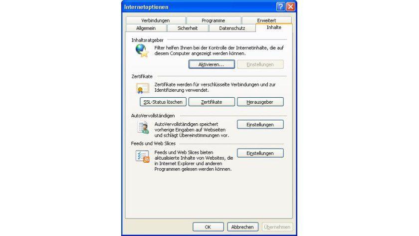 SSL-Status löschen: In den Internetoptionen kann man den aktuellen SSL-Cache leeren.