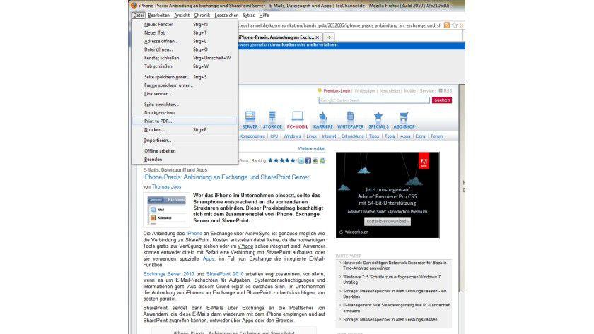 Druck-Erweiterung: PrintPDF verwandelt Webseiten in PDF-Dokumente.