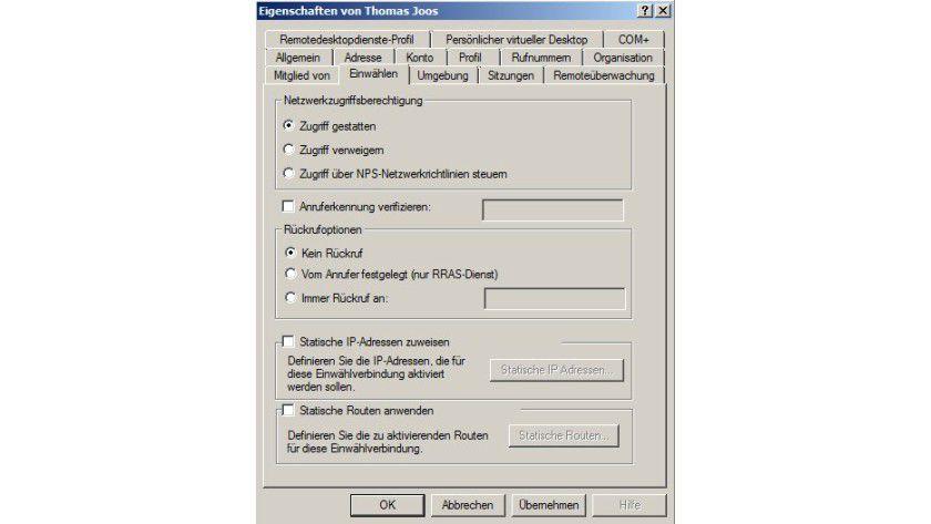 Erlaubnis erteilen: So berechtigen Sie Benutzer im Active Directory für die VPN-Einwahl.