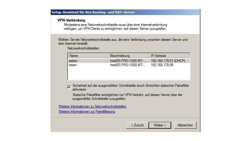 Auswahl: Sie müssen die externe Schnittstelle für die VPN-Einwahl festlegen.