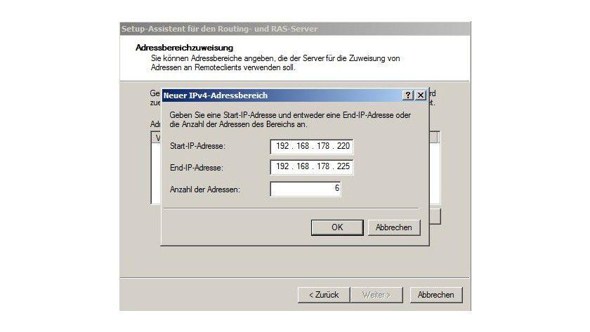 Eingrenzung: Sie können einen IPv4-Adressbereich für die VPN-Clients festlegen.