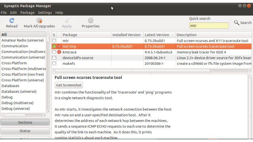Einfach: mtr lässt sich beispielsweise mittels Synaptic unter Ubuntu installieren.