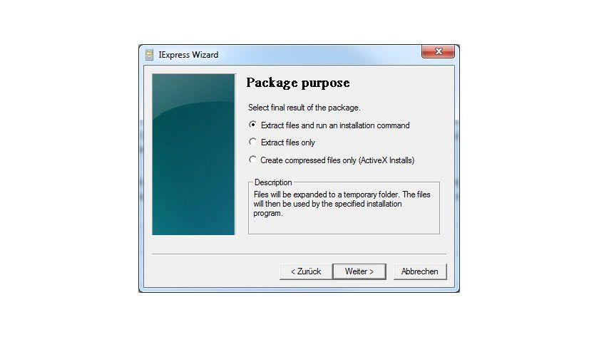 Entpacker: IExpress kann selbstentpackende Dateien erstellen und führt auf Wunsch auch Installationen durch