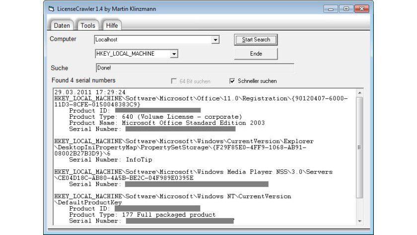 Seriennummer unter Windows auslesen: License Crawler