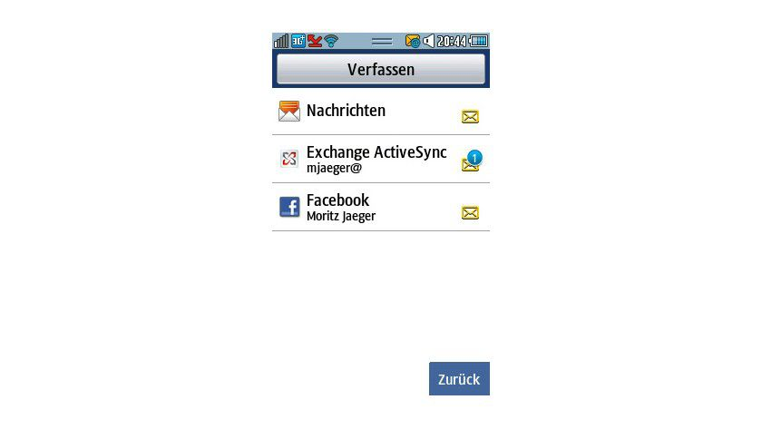 Nachrichtensystem: Bada unterstützt Systeme wie Facebook, SMS, Exchange oder andere E-Mail-Systeme.