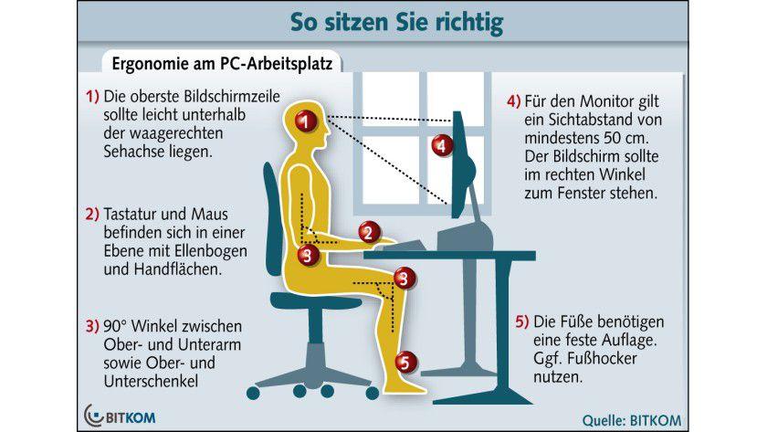 tipps f r einen ergonomischen pc arbeitsplatz ergonomie. Black Bedroom Furniture Sets. Home Design Ideas