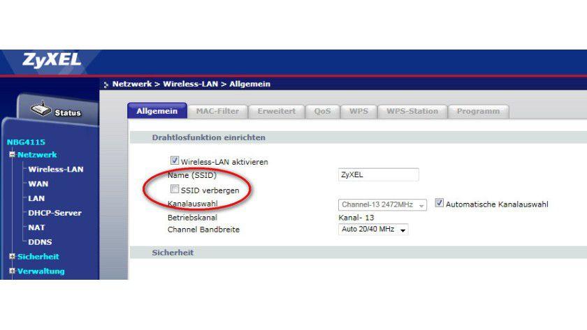 Tarnmodus: Ein Klick auf diese Funktion schaltet den SSID Broadcast ab.