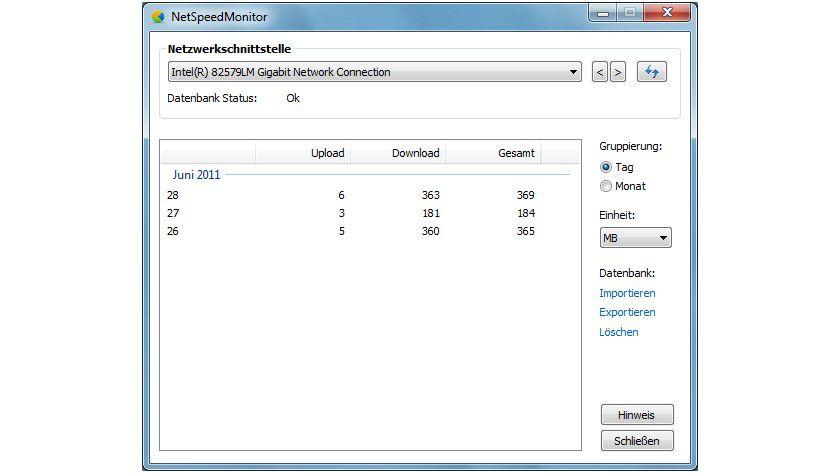 Hilfreich: Mit dem NetSpeedMonitor lässt sich der Datenverkehr zeitabhängig überwachen und analysieren.