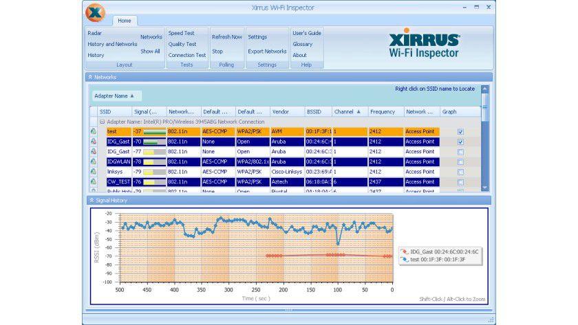 Xirrus Wi-Fi Inspector: Mit dem Netzwerk-Tool lassen sich Fehlerursachen im WLAN schnell finden.