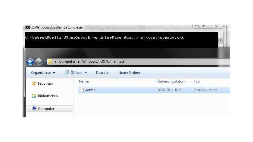 Export: Mit Hilfe der Net Shell kann man die TCP/IP-Einstellungen exportieren.