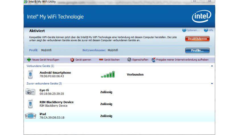 Hotspot-System: Intel liefert mit dem My WiFi ein Hotspot-Tool für Centrino-WLAN-Lösungen.