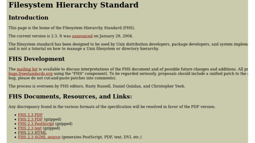 Ordnung muss sein: Der Filesystem Hierarchy Standard beschreibt den Aufbau eines Unix-Verzeichnissystems.