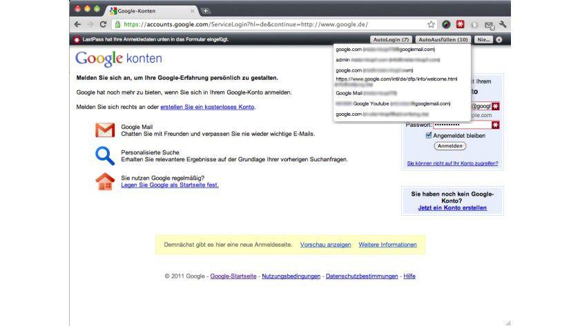 LastPass: Das Tool erkennt automatisch Login-Seiten wieder und bietet dem Nutzer alle ihm bekannten Login-Daten an.