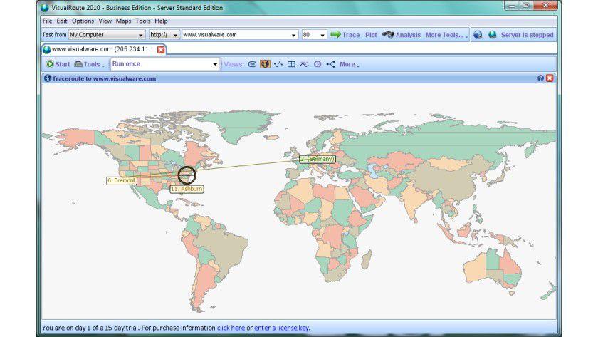 Start: Neben dem eigenen Rechner kann VisualRoute auch auf weltweit verteilte Messsonden zugreifen.