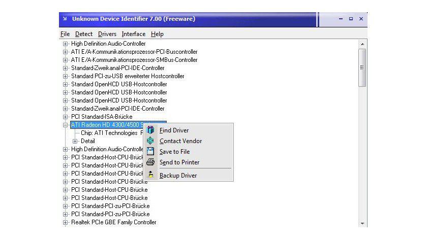 Details: Kontextmenü stehen mit Find Driver und Contact Vendor äußerst hilfreiche Befehle zur Verfügung.