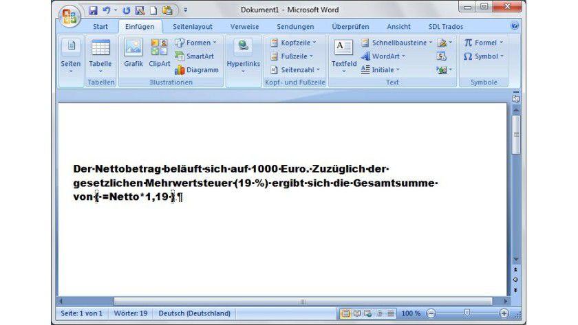 Kalkuliert: Mithilfe von Feldfunktionen und Textmarken kann man auch im Fließtext von Word Berechnungen durchführen.