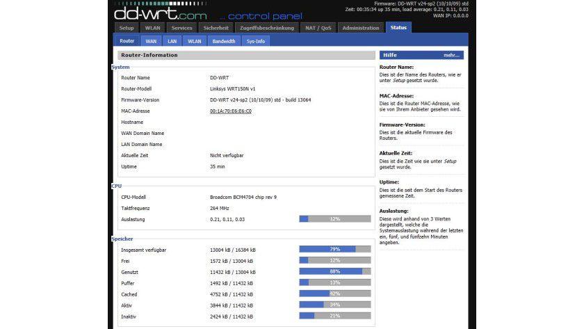 Informationsfluss: DD-WRT gibt detaillierte Informationen über das Innenleben der Netzwerkkomponenten.