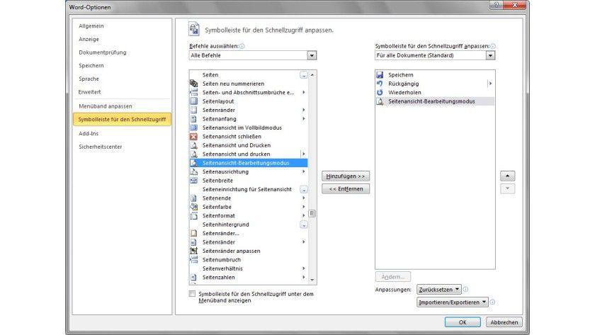 Auf Klick: Wenn man den Befehl Seitenansicht-Bearbeitungsmodus in die Symbolleiste aufnimmt, lässt sich mit einem Klick die gewohnte Seitenansicht aktivieren.