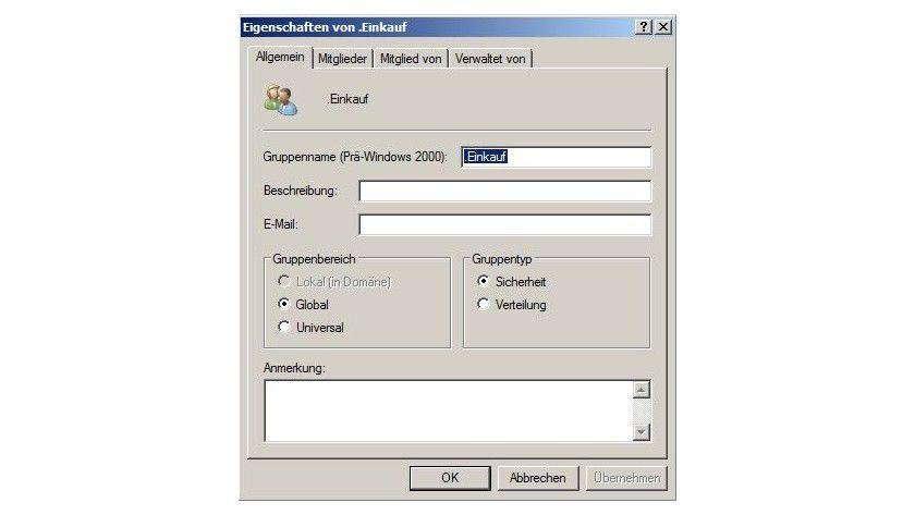 Gruppenarbeit: So sieht die Verwaltung der Eigenschaften der Gruppe in Windows Server 2008 R2 aus.