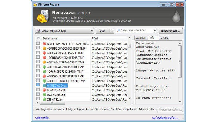 Status: Das Tool präsentiert nach einem Scan das Ergebnis in Listenform. Die farbliche Kennzeichnung zeigt den Dateizustand für die Wiederherstellung.