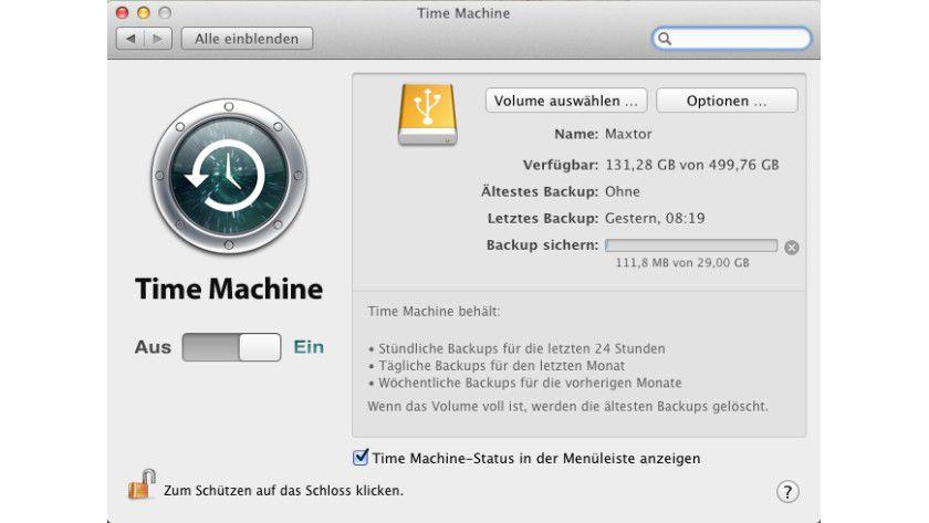 Für alle Fälle: Vor der Installation von Windows 8 mit dem Boot Camp sollte mit Time Machine ein Backup auf eine externe USB-Festplatte durchgeführt werden.
