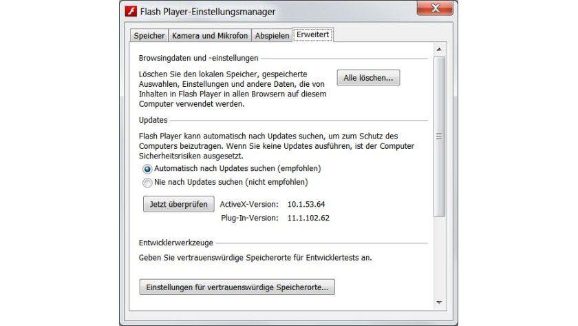Fehlende Option: Mit dem lokalen Einstellungsmanager lässt sich nur angeben, ob Flash Player nach Updates suchen soll, nicht aber, wie oft das geschieht.