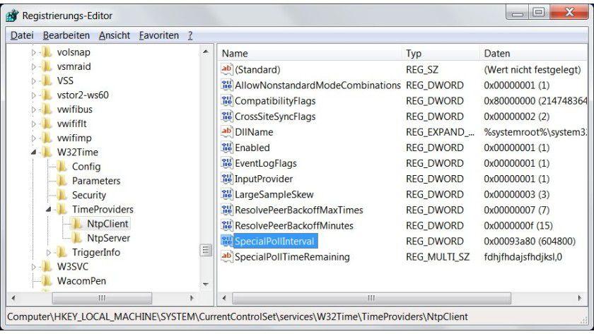 Intervall: Um anzugeben, in welchen Abständen Windows seine Uhr mit einem Internet-Zeitserver abgleicht, muss man die Registry bearbeiten.