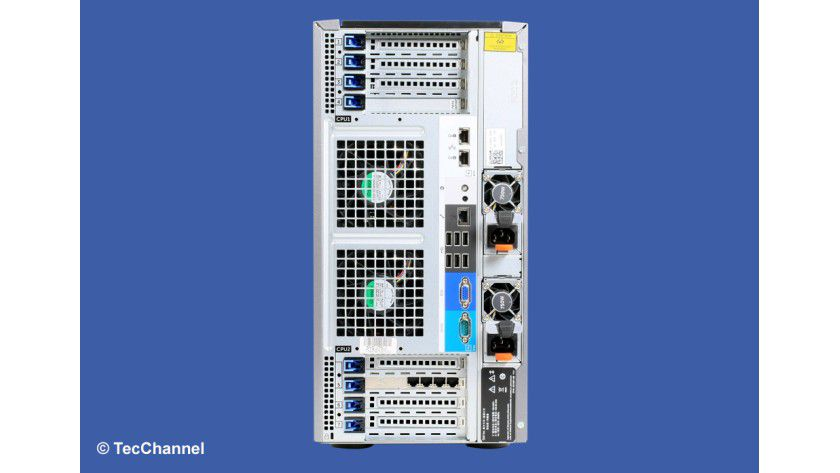 Kontaktfreudig: Der Dell PowerEdge T620 stellt auf der Rückseite neben Standardanschlüssen wie USB, VGA und serielle Schnittstelle zusätzlich vier Netzwerkschnittstellen und einen Management-Port übers Netzwerk zur Verfügung.