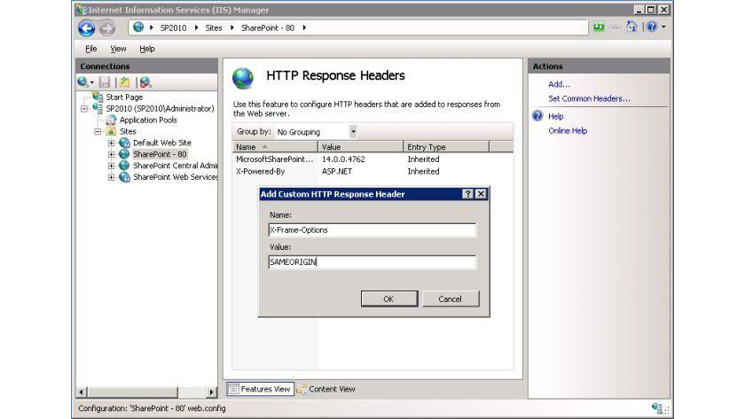 IIS-Konfiguration: Hinzufügen von X-Frame-Options als Name und SAMEORIGIN als Wert.