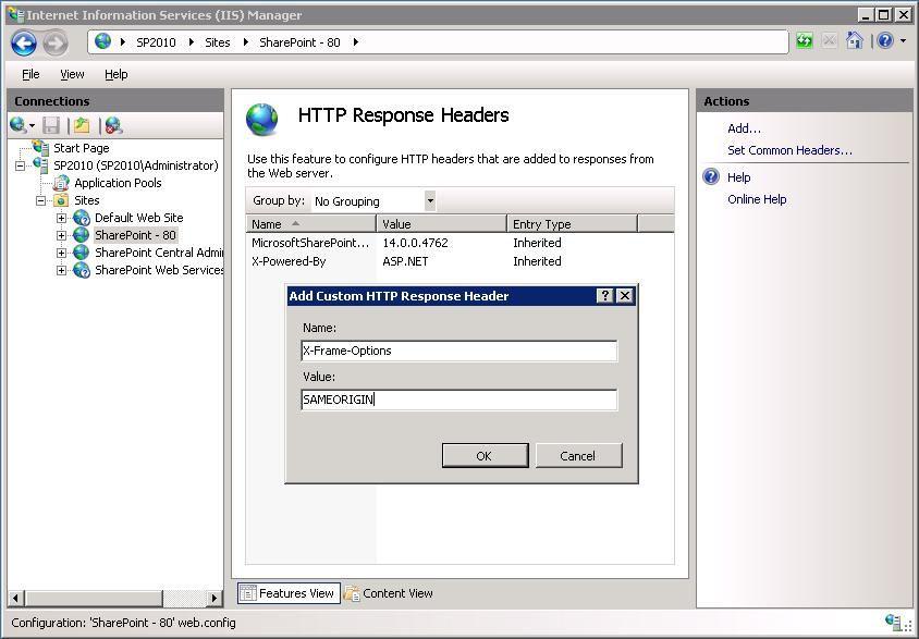 Bild: IIS-Konfiguration: Hinzufügen von X-Frame-Options als Name und ...