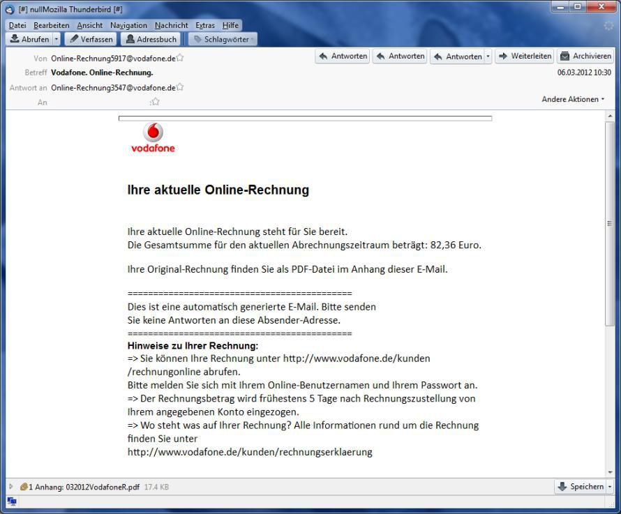 E Mail Enthält Präpariertes Pdf Warnung Gefälschte Vodafone