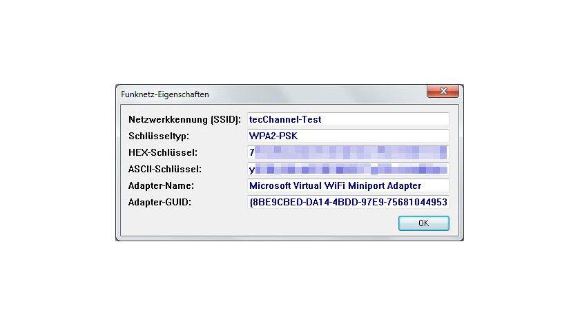 Auf einen Blick: In den Funknetz-Eigenschaften finden sich alle wichtigen Informationen zu einem WLAN.