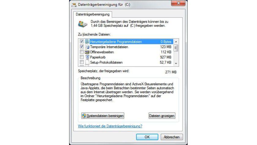 Ballast entsorgen: In der Windows-Datenträgerbereinigung lassen sich nicht mehr benötigte Dateien entfernen.