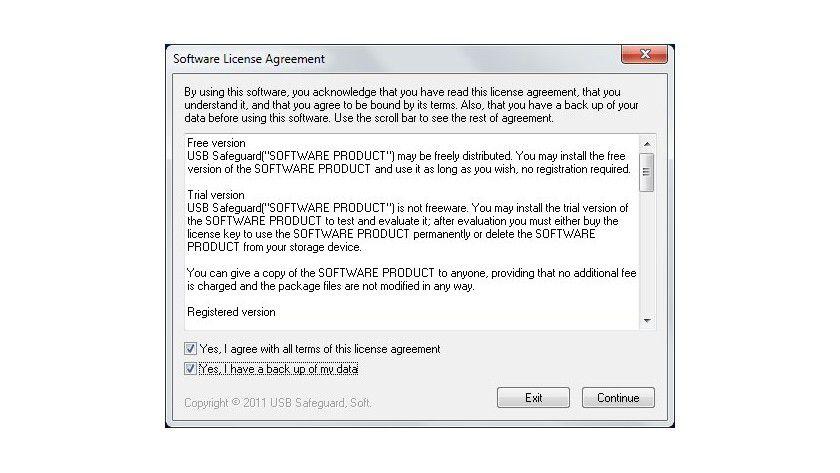 Rückversicherung: Vor dem Einsatz der Software muss der Benutzer bestätigen, die Daten gesichert zu haben, da sich vergessene Kennwörter nicht wiederherstellen lassen.