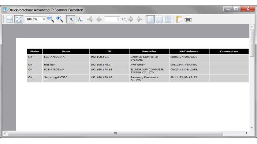 Bericht: Mit dem Tool lassen sich die erfassten Informationen als Liste speichern und drucken.