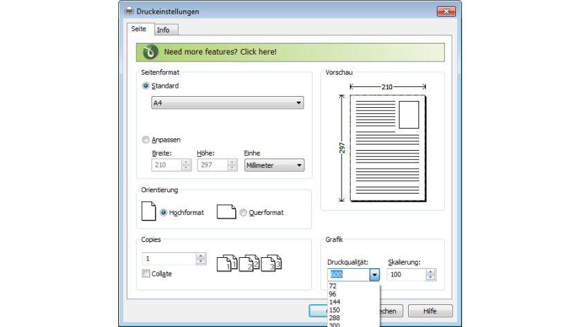 Ausdrucksweise: Die Optionen hinsichtlich der auszugebenden Datei lassen sich wie bei Druckertreibern auch festlegen.